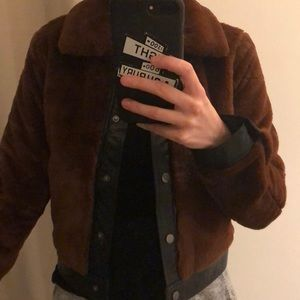 Faux fur brown bomber jacket